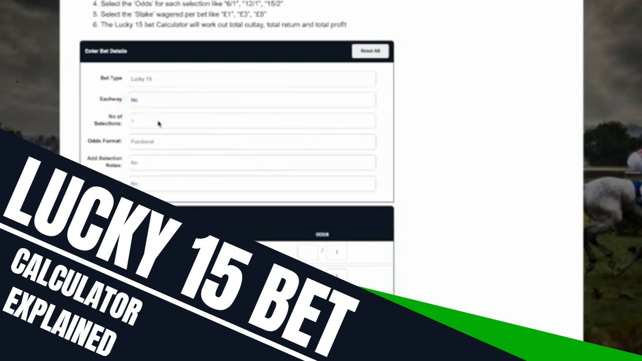 betting odds calculator lucky 15 odds