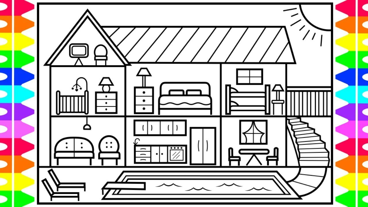 How To Draw A Big House With A Swimming Pool Big House With A Swimming Coloring Pages Pool Drawing House Colouring Pages
