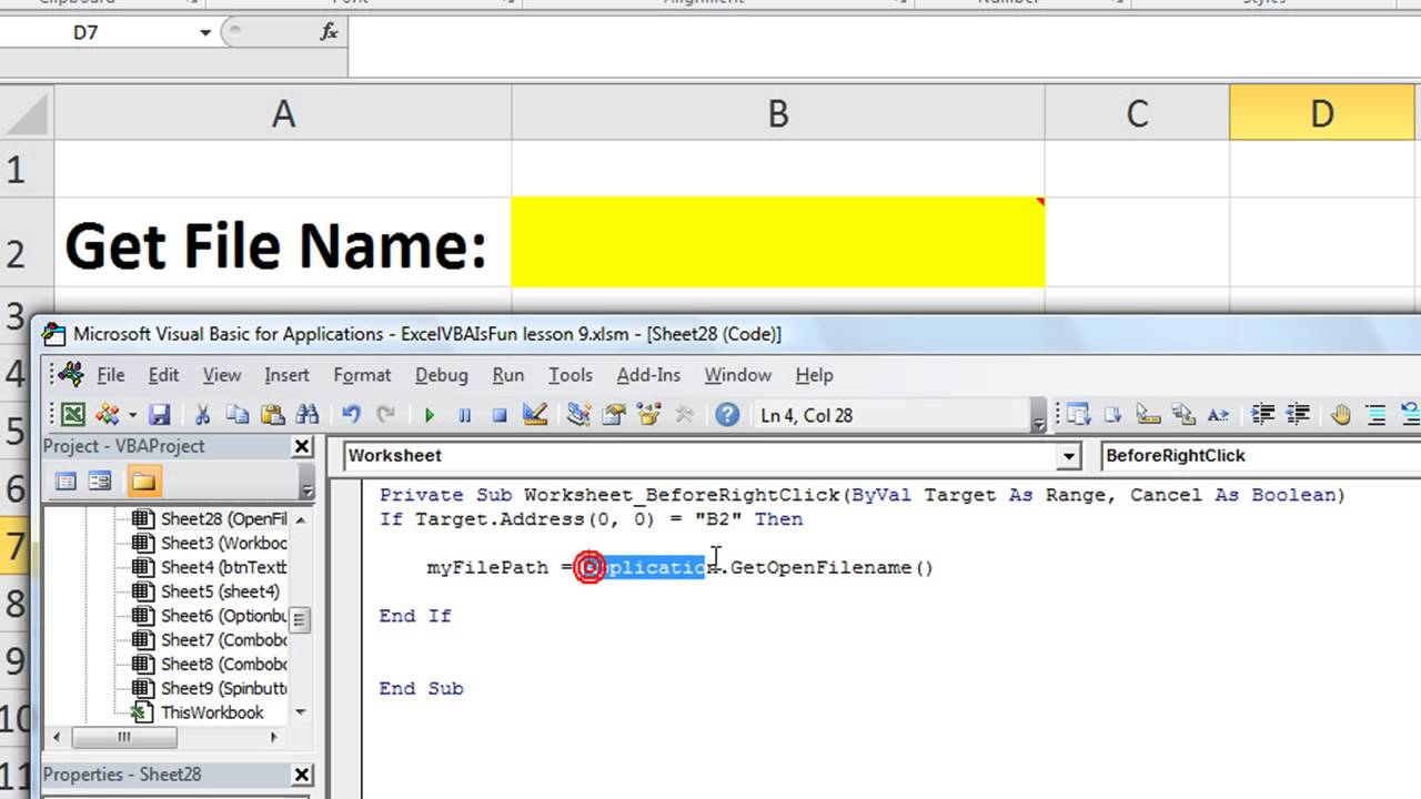 Excel VBA Basics #28 Get the Name or File Path, Open File Browser in ...