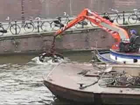 Fishing Bicycles Out Of Amsterdam Canal Youtube