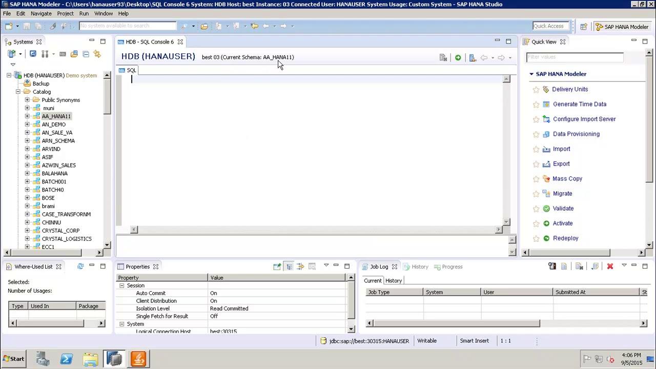 SAP HANA - Create Table using SQL Editor