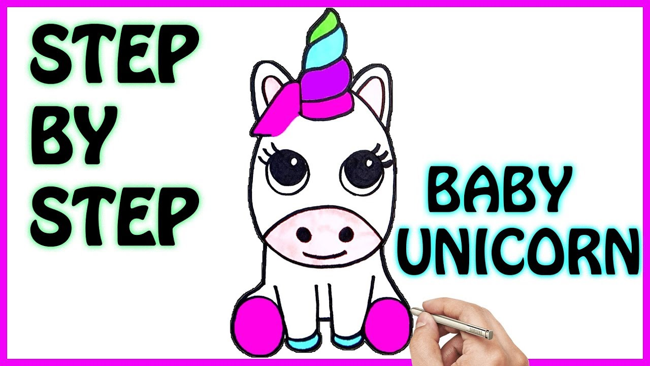 HOW TO DRAW CUTE BABY UNICORN EASY STEP BY STEP | COLORING PAGES FOR ...
