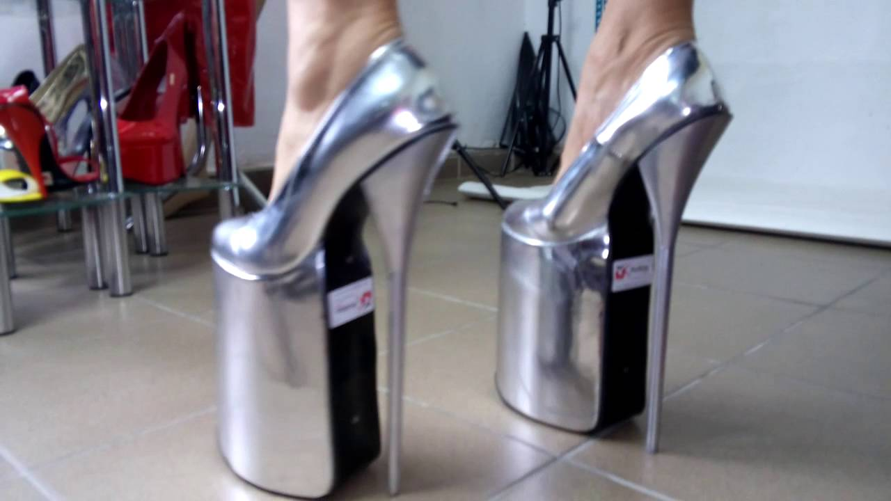 High heels 30cm boots silber patent leather platform 20cm - YouTube