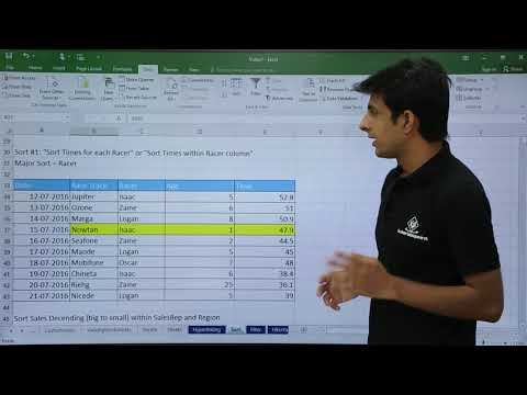 MS Excel - Data Sorting