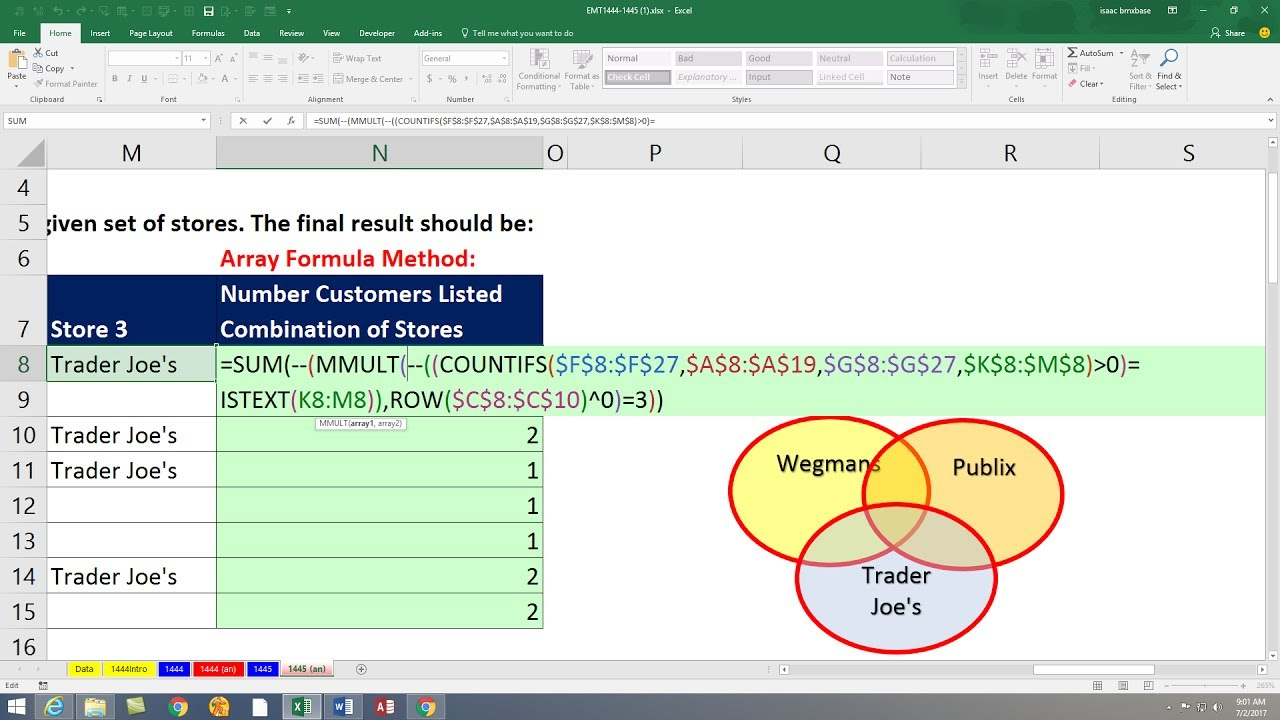 Excel Magic Trick 1445: Single Cell Array Formula: Count Customer ...