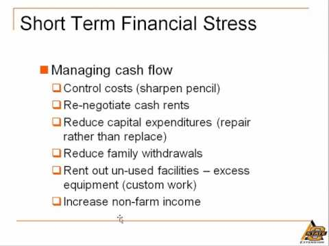 Evaluating Farm Financial Performance: Dealing with Financial Stress