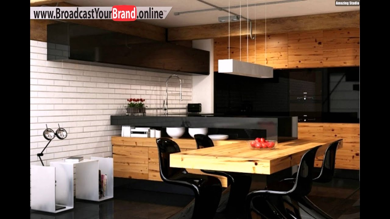 wohnideen k che modern holz esstisch schwarze glas k chenr ckwand wei e ziegelwand. Black Bedroom Furniture Sets. Home Design Ideas