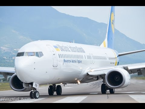 {Full HD} *RARE* Ukraine International Airlines Boeing 737-900ER Close-Up Landing at Tivat Airport