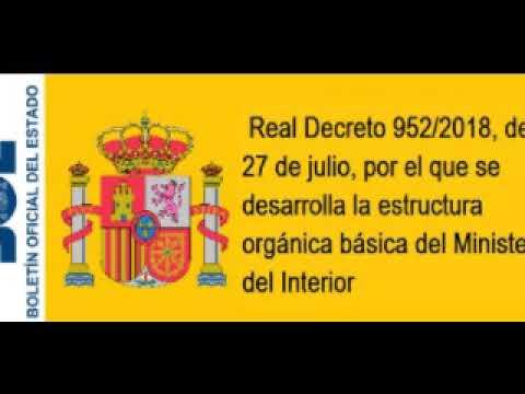 Real Decreto 952 2018 Estructura Orgánica Del Ministerio Del Interior