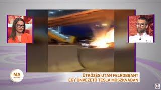 Ütközés után felrobbant egy önvezető Tesla Moszkvában