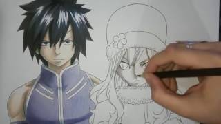 Speed Drawing   Gray and Juvia Fairy Tail