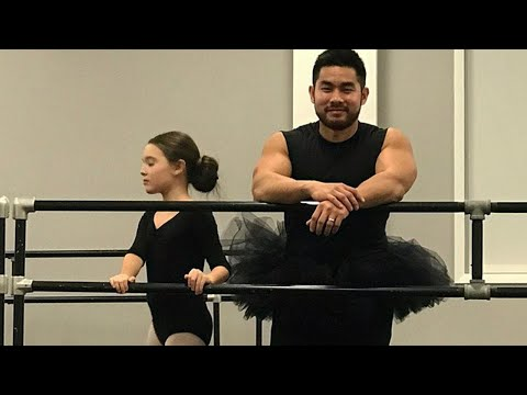 Dad Wears Daughter's Tutu And Leotards to Ballet Class