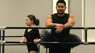 Dad Wears Daughter's Tutu And Leotards to Ballet Class thumbnail
