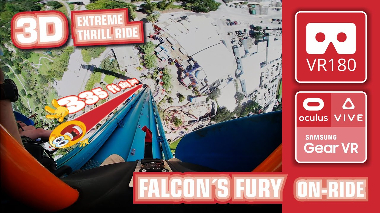 Feel The Fear VR180 FALCON´S FURY - Sky Jump 300 ft face down - scary Thrill Ride Busch Gardens VR