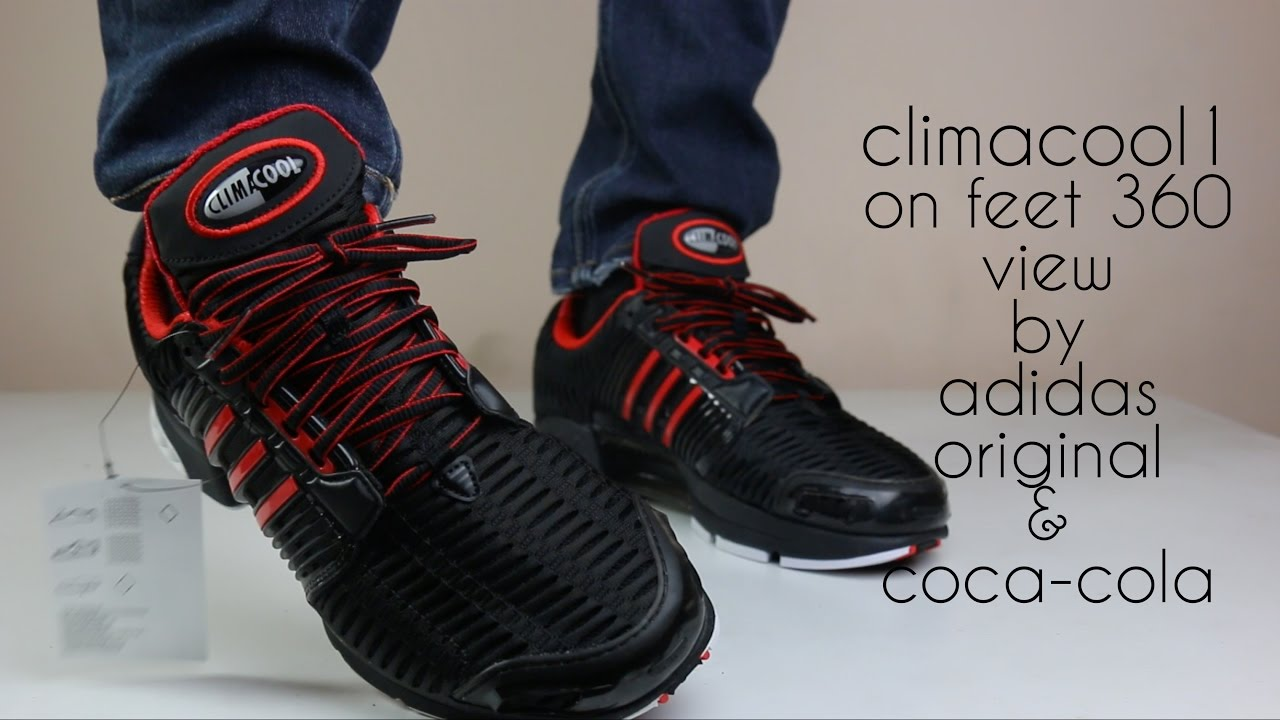 quality design 1796e 12271 ADIDAS ORIGINALS CLIMACOOL COCA-COLA BLACK AND RED ON FEET 360 VIEW