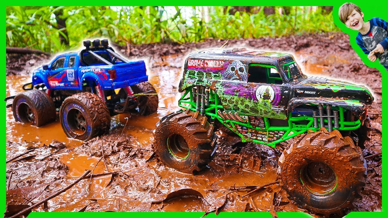 Rc Monster Trucks In Mud Tow Challenge Youtube