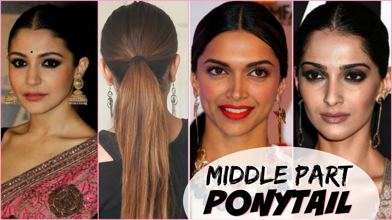 Easy Quick Middle Part Ponytail Hairstyle Bollywood Actress