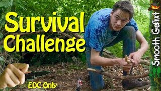 24 hour Survival Challenge – EDC Knife Only (thunderstorm struggles…)
