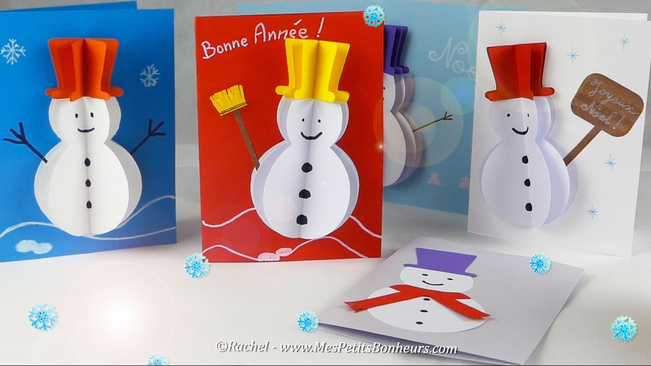 DIY Carte 3D Bonhomme de Neige en volume   Gabarit et Tuto   YouTube