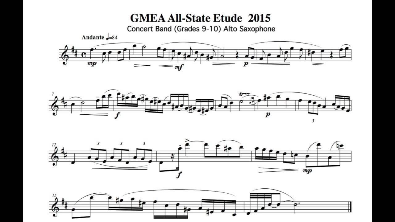 Etude Alto Saxophone : 2015 gmea alto saxophone concert band etude 1 youtube ~ Vivirlamusica.com Haus und Dekorationen