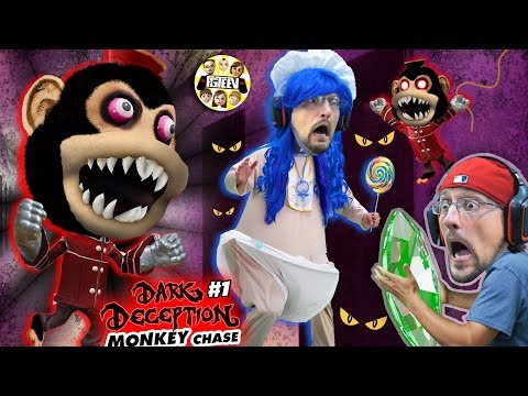 DON'T STOP RUNNING!! Scary Monkey Game! 🙈 (FGTEEV plays Dark Deception #1)