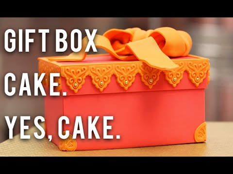 How to Make A GIFT BOX out of CAKE!! Chocolate, BUTTERCREAM, and pink and orange fondant