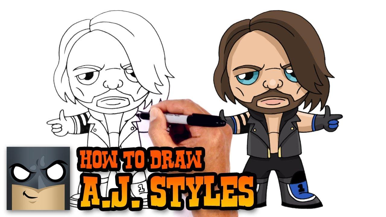 How to Draw AJ Styles | WWE #1