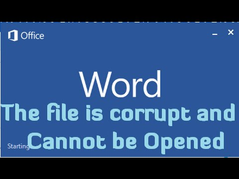 The File Is Corrupt And Cannot Be Opened Error In Microsoft Office