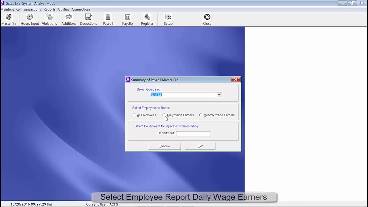 GENERATE EMPLOYEE PAYROLL MASTER FILE REPORT DAILY WAGE EARNER ...