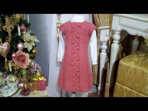 МК детское платье спицами // рост 110 см / от 3-5 лет
