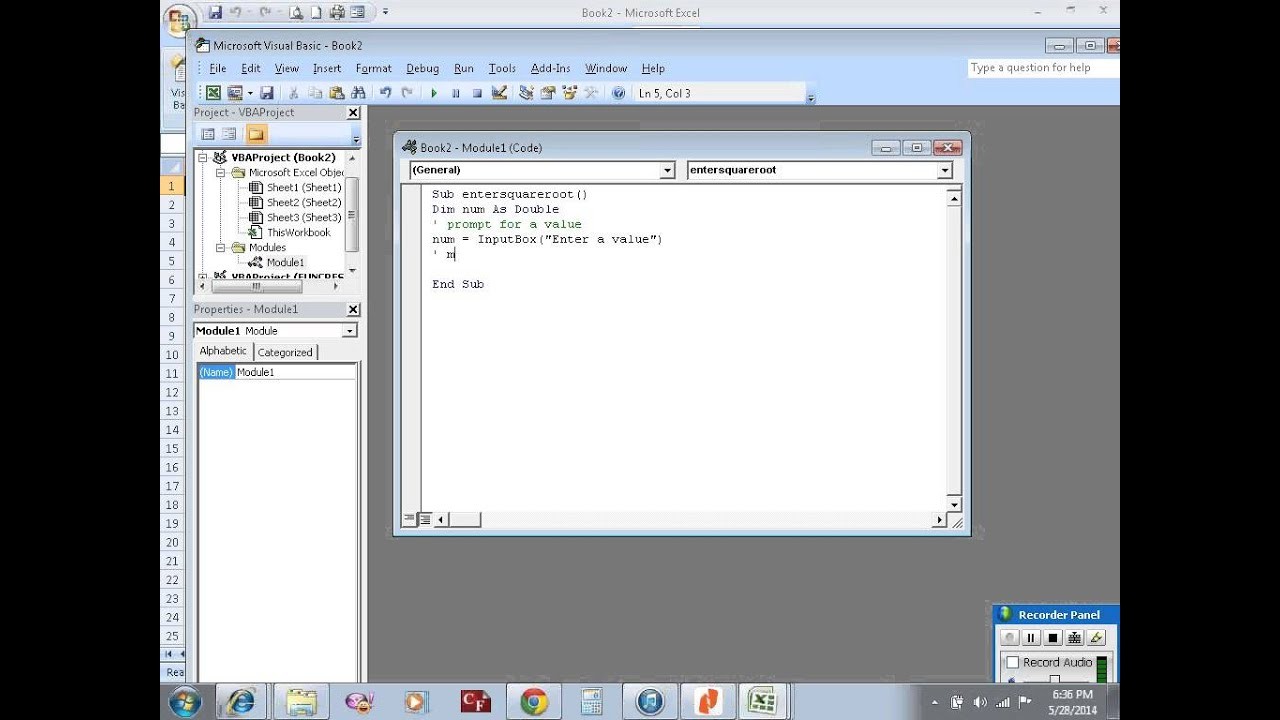 Excel Vba Example 26 Sub Procedure To Calculate Square