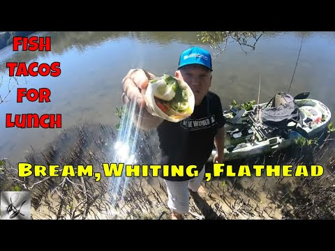 Fishing For Bream Flathead & Whiting |Fish Tacos Kayak Catch & Cook