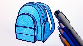 How to Draw a School Bag/Backpack step by step