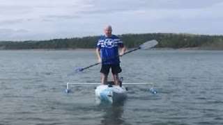 Kayak Test On The Water With Home Made Outriggers Or Stabilizers