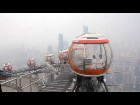 Inside the Canton Tower at Guangzhou