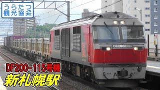千歳線DF200-115+貨物列車 新札幌駅通過 JR Chitose Line