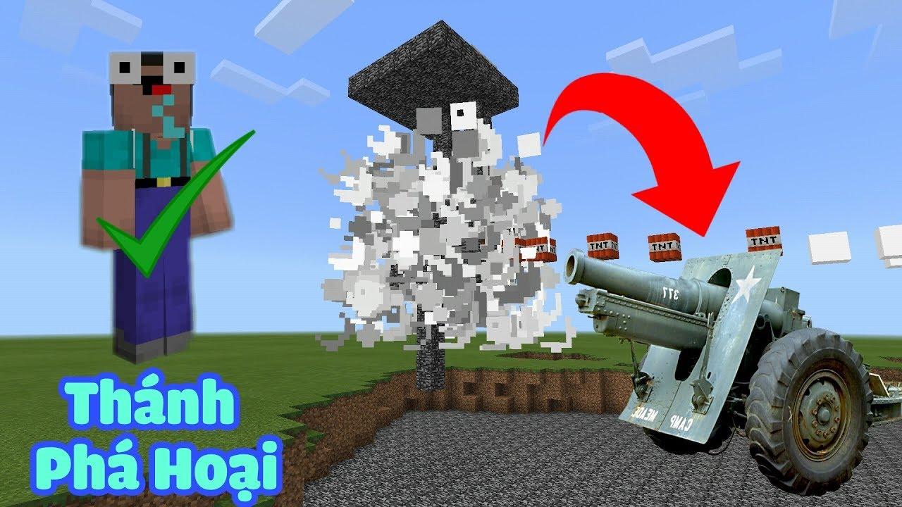 HƯỚNG DẪN CHẾ TẠO CANNON TNT CÓ SỨC CÔNG PHÁ KHỦNG, THÁNH PHÁ HOẠI TRONG MCPE | Minecraft PE .1.1.4