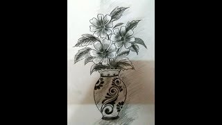 HOW TO DRAW FLOWER VASE/ FLOWER POT DRAWING/VASE DRAWING TECHNIQUE/HOW TO DRAW FLOWER VASE