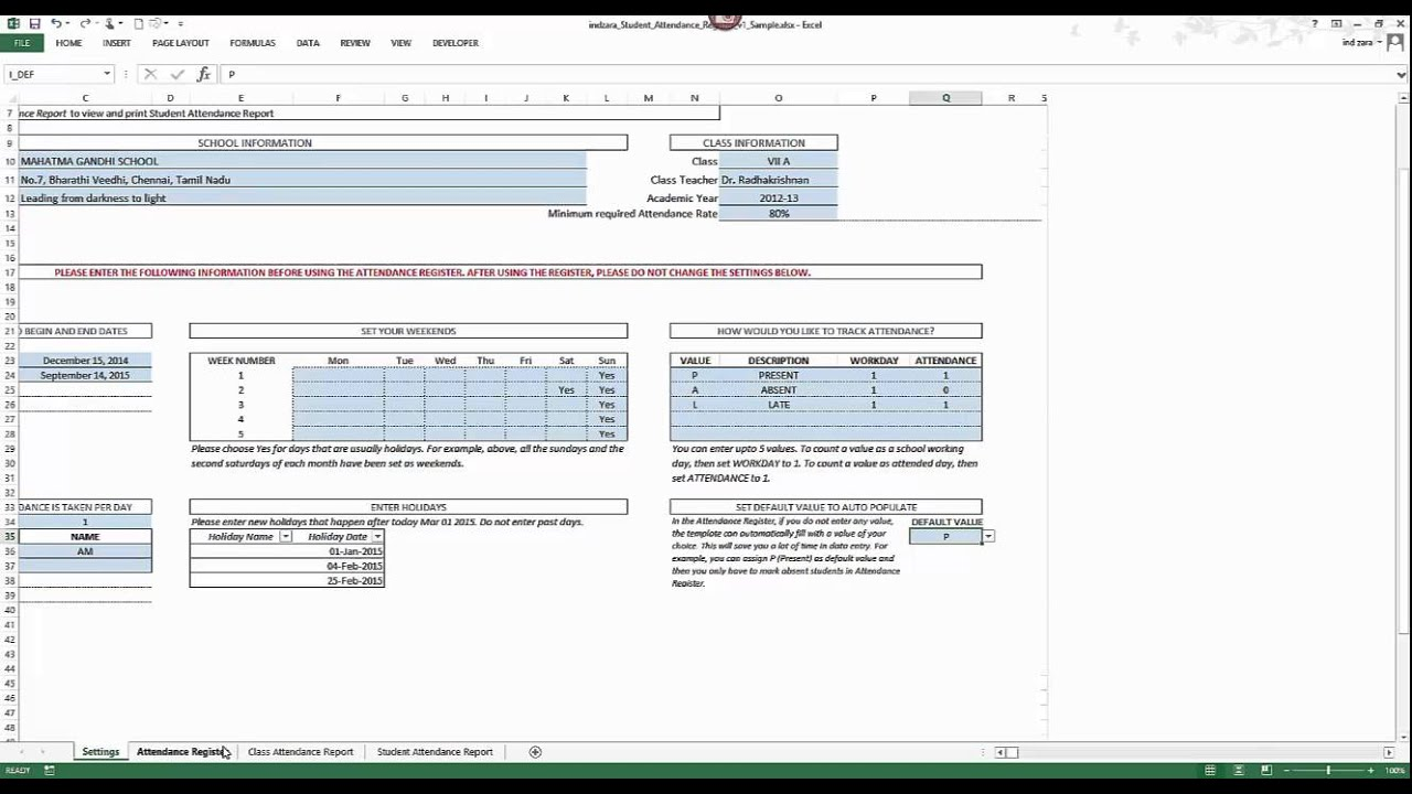 Student attendance register excel template v1 product for School register template spreadsheet