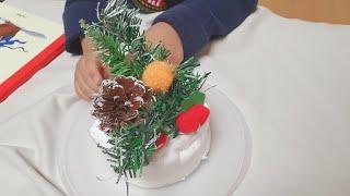 자연물 겨울케이크 만들기, 엄마표놀이, 겨울놀이, 케이…