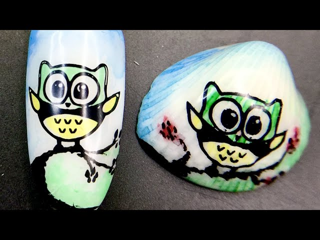 Demo_ Cute owl nail design and seashell painting art with sticky stamping polish and watercolor