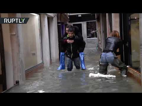 75% of Venice submerged in water as high tide strikes historic city