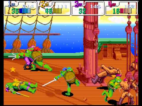 Teenage Mutant Ninja Turtles: Turtles in Time arcade 4 player Netplay 60fps