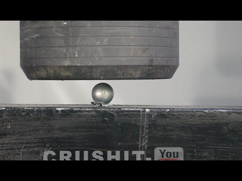Crushing Steel Ball with Hydraulic Press