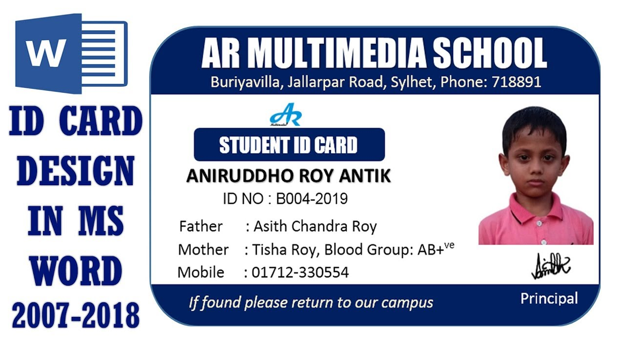 ms word tutorial how to make easy student id card design in ms word