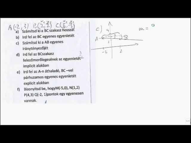 11. o. Koordináta-geometria 03 - iránytényező, iránytangens, meredekség