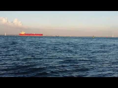 Freight Ship passes Cowes Harbour 22 October
