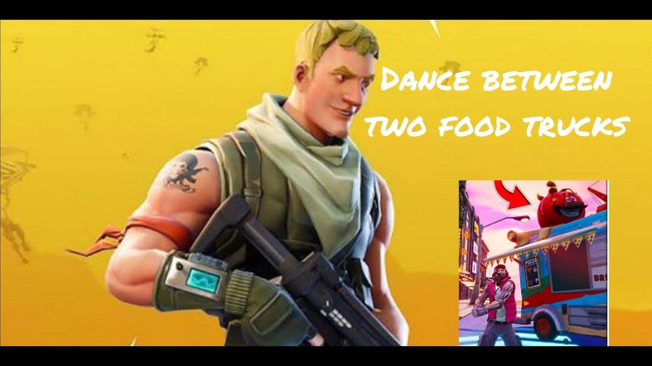 Fortnite dance between 2 food truck - YouTube