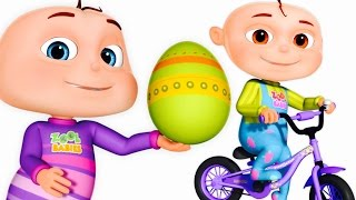 Five Little Babies Opening Surprise Eggs | Learning Songs For Children | Learn Transport Vehicles