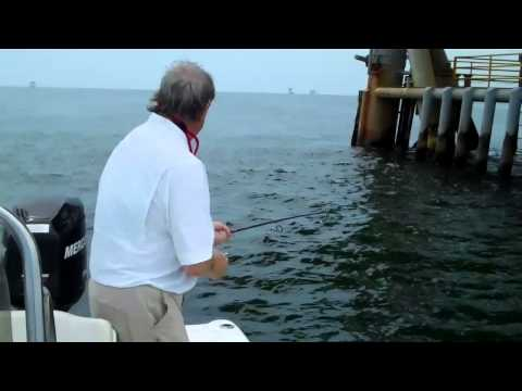 Speckled Trout Fishing At LA Oil Rigs With Capt. Erik Rue